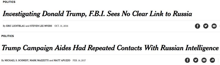 New York Times headlines from October and then February on investigating Trump-Russia links.