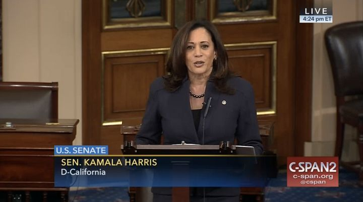 Sen. Kamala Harris (D-Calif.) delivered her first official speech on the Senate floor on Thursday.
