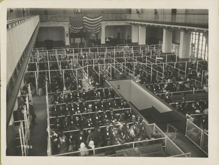 "Immigration ""pens"" for processing at Ellis Island. Source: Photographs of Ellis Island, 1902-1913"