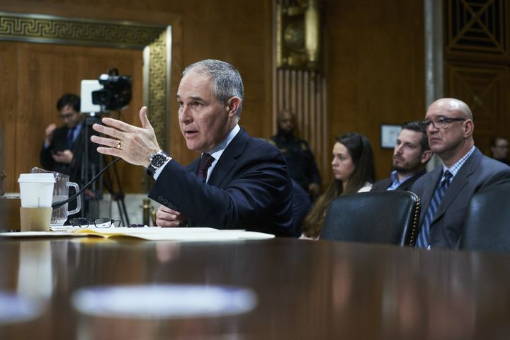 Scott Pruitt, the EPA nominee, speaks during his Senate Environment and Public Works Committee confirmation hearing on J
