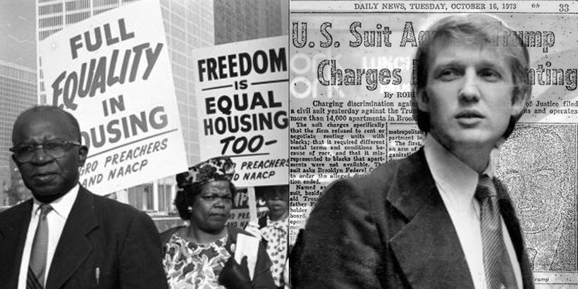 Left: Equal housing marchers during the Civil Rights era. Right: Donald Trump in 1975, the year he settled charges of racism