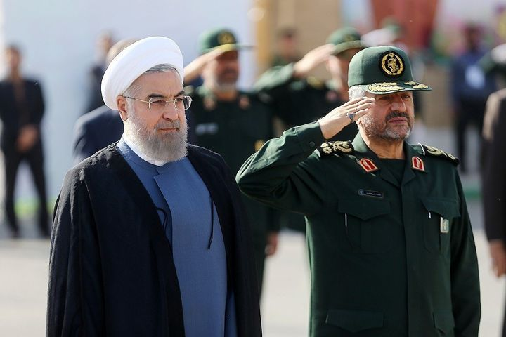 Iranian President Hassan Rouhani (L) and IRGC Major General Mohammad Ali Jafari (R) in Tehran, Iran on September 15, 2015.