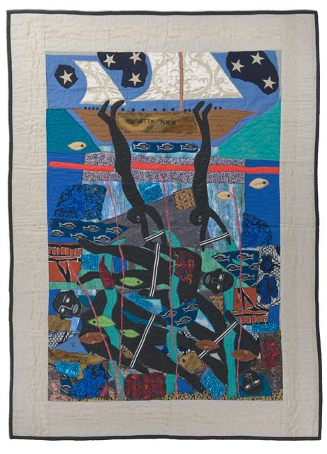 """Escaping the Slave Ship...Henrietta Marie"" 2006. Textiles & mixed media. 67 x 90 in."