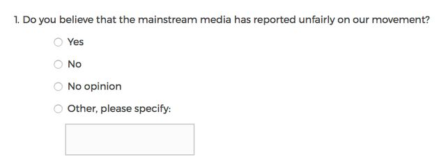The bizarre quiz asks questions such as:'Do youbelieve the mainstream media has reported...