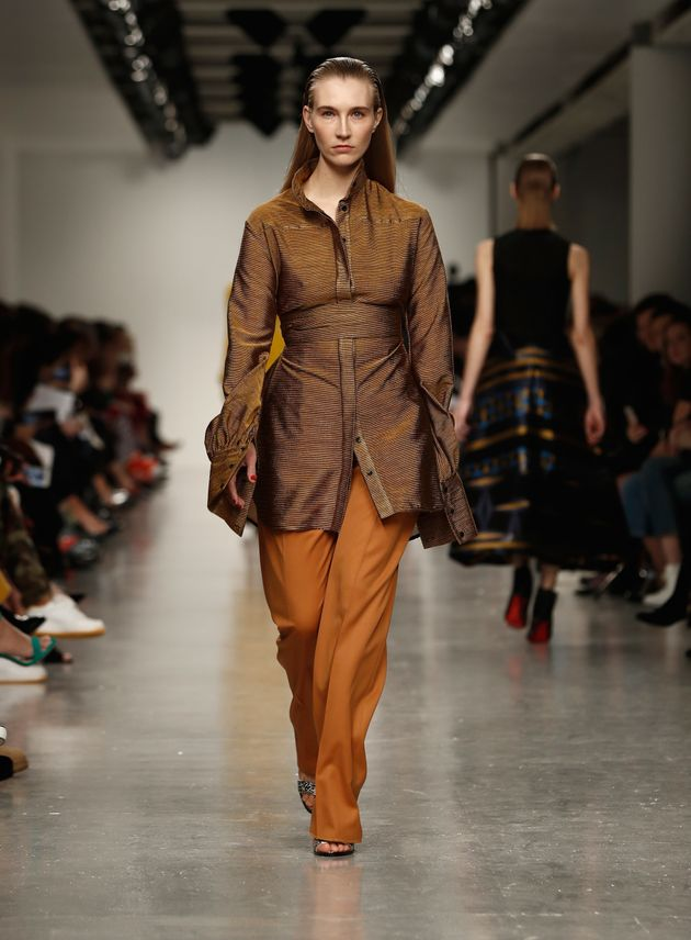 Kelly Knoxon the Teatum Jones runway during the London Fashion Week on 17