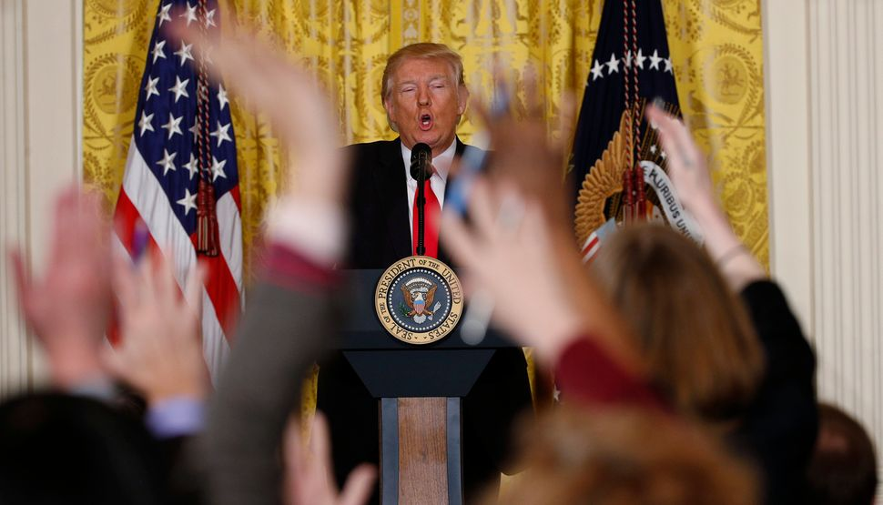 Trump takes questions from reporters during a lengthy news conference at the White House on Feb. 16, 2017.