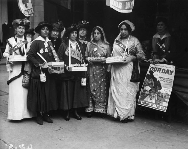 Princess Duleep Singh, second left, and others collect funds to help soldiers at the front during the...