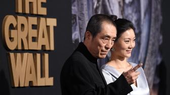 HOLLYWOOD, CA - FEBRUARY 15:  Director Zhang Yimou (L) and Chen Ting attend the premiere of Universal Pictures' 'The Great Wall' at TCL Chinese Theatre IMAX on February 15, 2017 in Hollywood, California.  (Photo by Frazer Harrison/Getty Images)