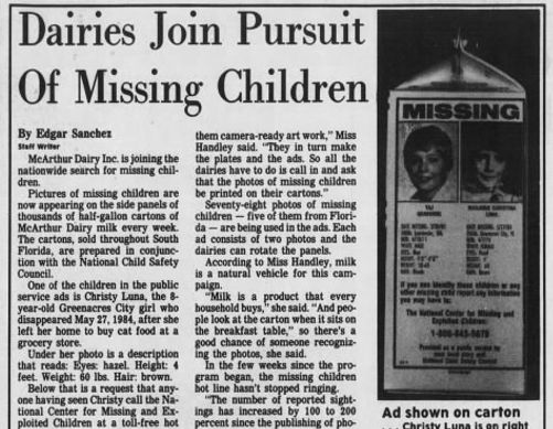 "A 1985 <em>Palm Beach Post</em> story about the milk-carton initiative. (<a rel=""nofollow"" href=""https://Newspapers.com"" targ"