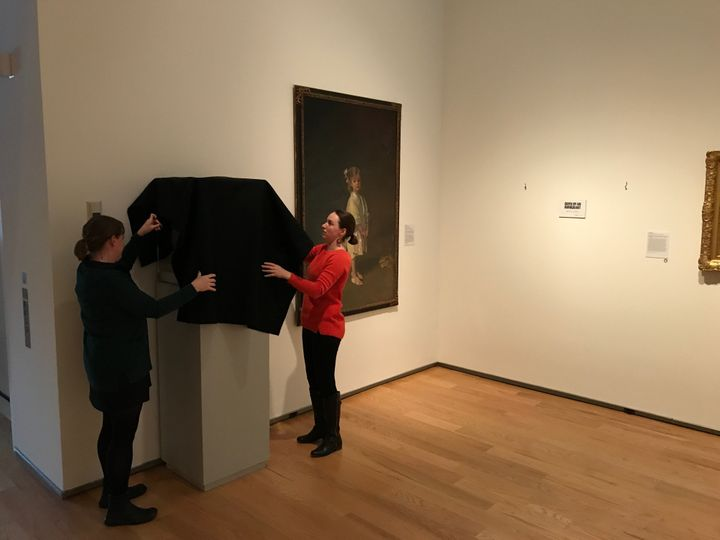 """A """"shrouded"""" artwork at the Davis Museum."""