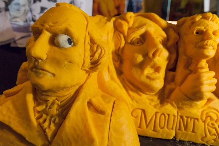 <p>A 160-pound cheddar cheese sculpture of Mount Rushmore, created in 2013</p>