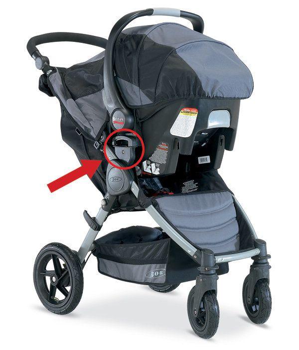The BOB-Motion stroller in travel system mode.