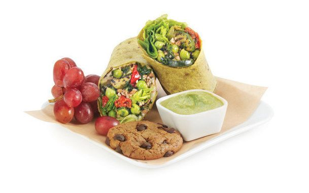 Economy-class lunch options include a whole grain veggie wrap.