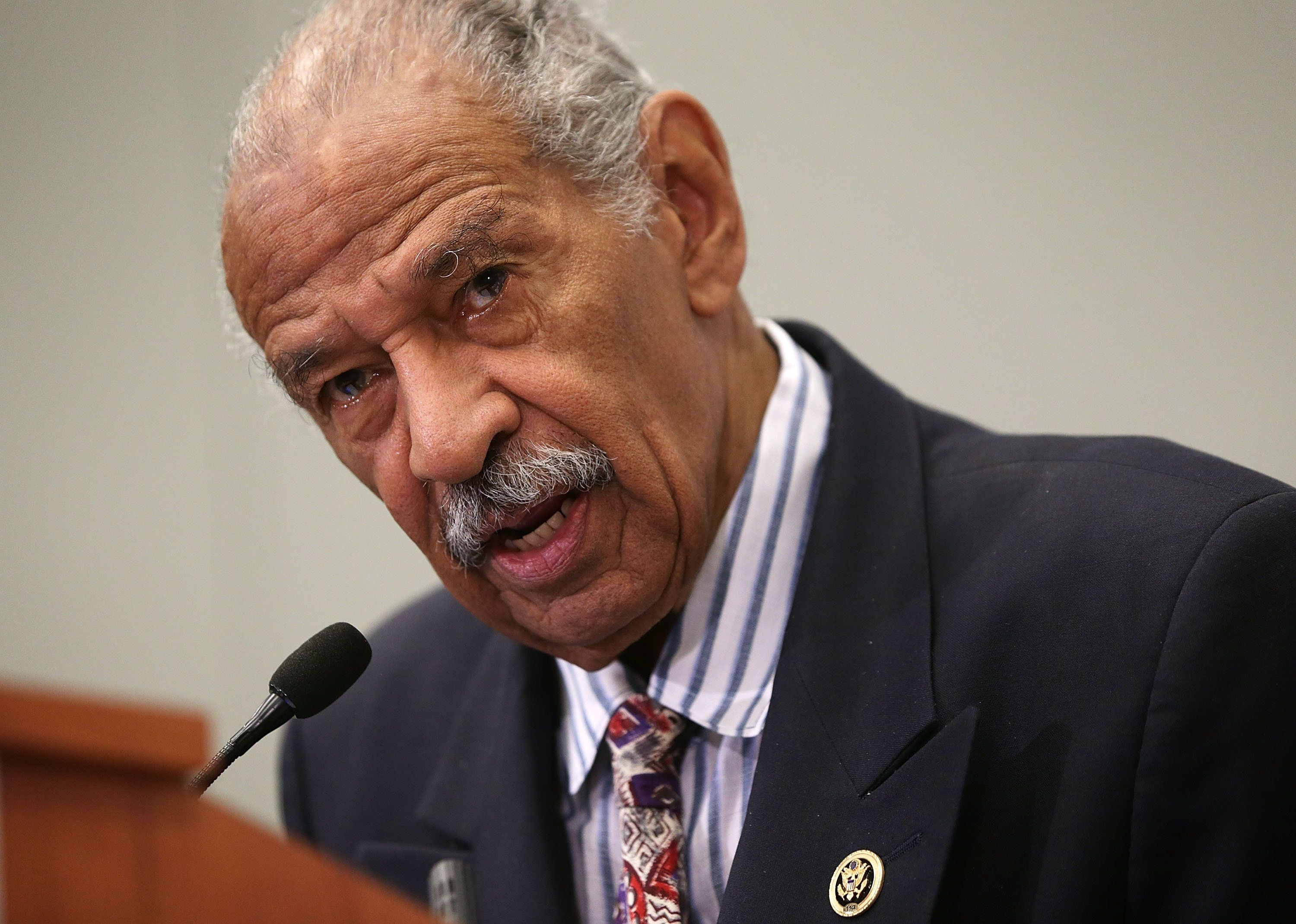 WASHINGTON, DC - SEPTEMBER 18:  U.S. Rep. John Conyers (D-MI) speaks at a session during the Congressional Black Caucus Foundation's 45th annual legislative conference September 18, 2015 in Washington, DC. Rep. Conyers spoke during a discussion on 'Judiciary BrainTrust: In Pursuit of Policing and Criminal Justice Reform'  (Photo by Alex Wong/Getty Images)