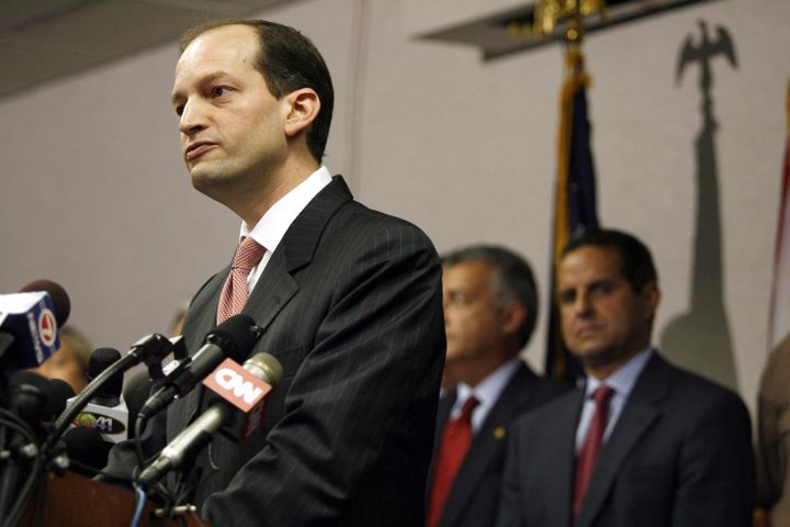 Former U.S. Attorney R. Alexander Acosta holds a news conference about the arrest of seven people in Miami, June 23, 2006.