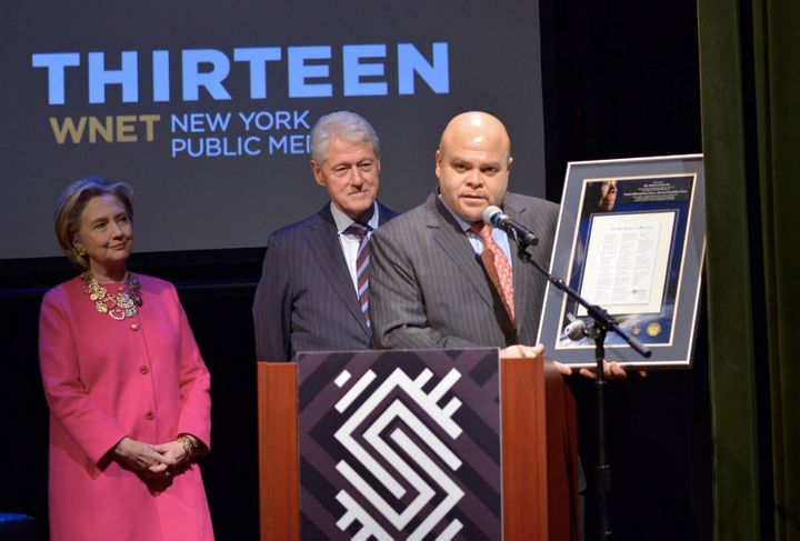 Dr. Angelou's grandson, Colin Johnson, presented the Clinton's with a plaque of her iconic poem that flew on the Orion Explor