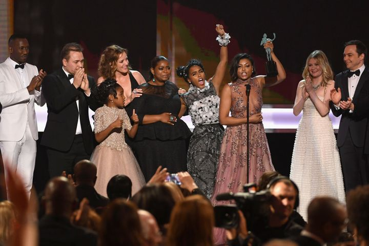 """The cast of """"Hidden Figures"""" with director Ted Melfi, accepting their SAG award in January."""