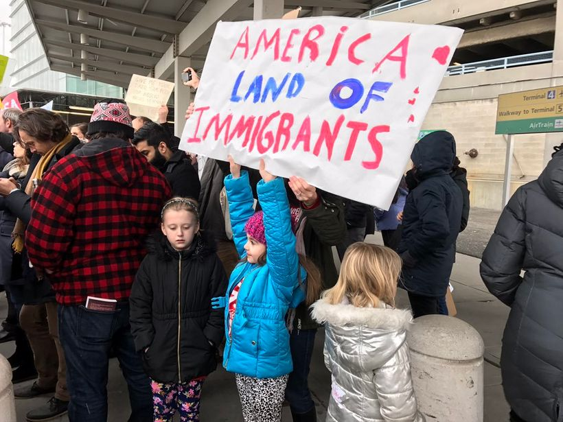 Protesters raise their voices against Trump's immigration ban.