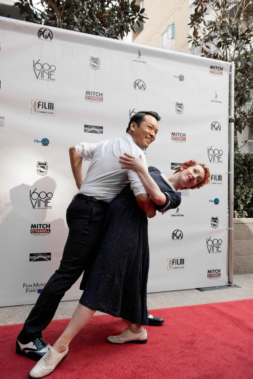 """Jillian Meyers, Dancer and Dominic Chaiduang who opened the Presentations with a number to """"City of Stars"""" from """"La La Land""""."""