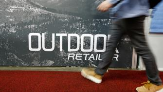 SALT LAKE CITY, UT - JANUARY 11: A person walks by a sign at the 2017 Outdoor Retailers Show, Winter Market, January 11, 2017 in Salt Lake City, Utah. Patagonia, a major retailer at the show, announced February 7, 2017 their withdrawal from the show in Salt Lake City in response to a resolution passed last week by the Utah State legislature and signed by Governor Gary Herbert, calling on the Trump administration to challenge the Bear Ears National Monument designated by former President Barack Obama. (Photo by George Frey/Getty Images)