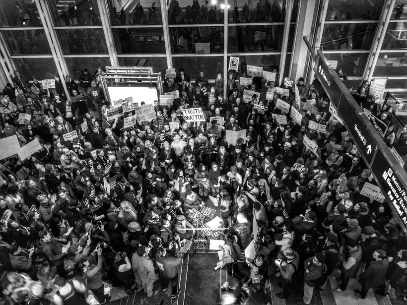A protest in Washington National Airport.
