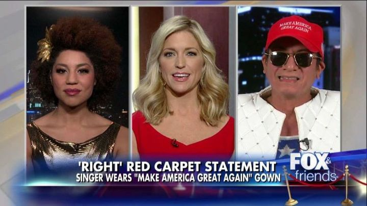 Joy Villa (left) was invited on Fox News a whole 35 seconds after sending a message with her red carpet dress.