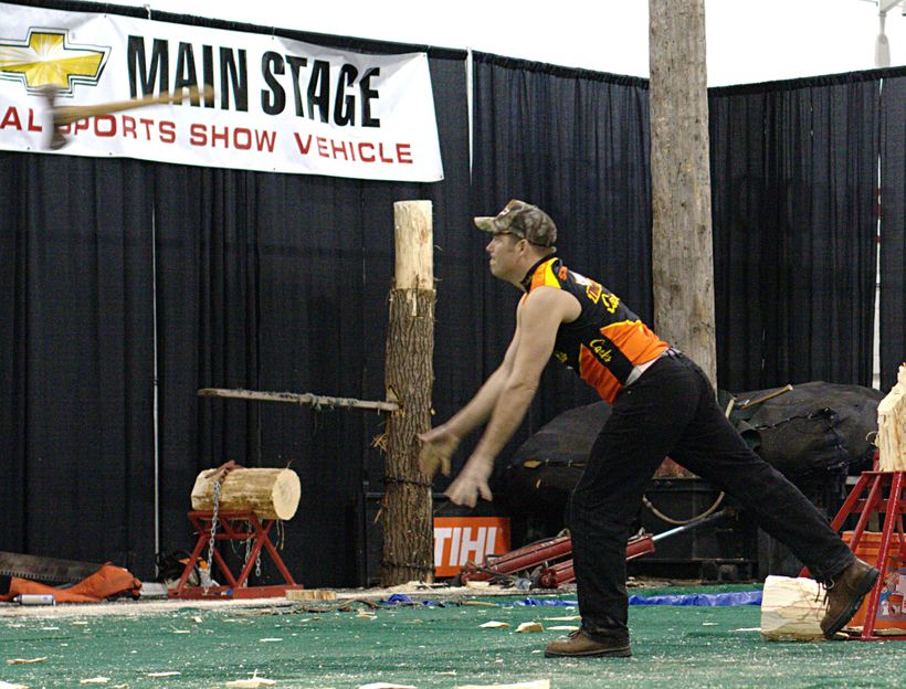 An axe being thrown during competition