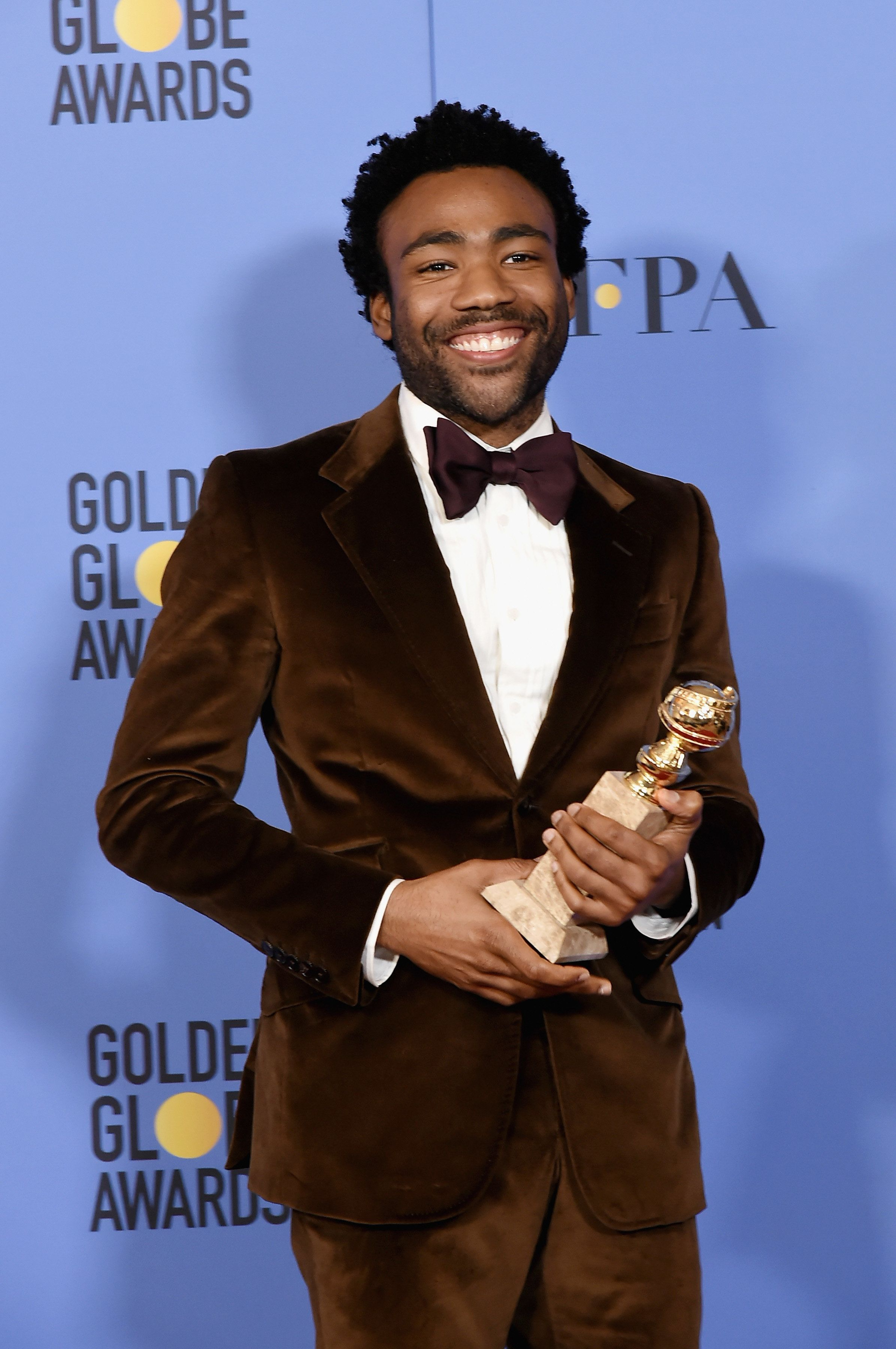 BEVERLY HILLS, CA - JANUARY 08:  Donald Glover attends the 74th Annual Golden Globe Awards - Press Room at The Beverly Hilton Hotel on January 8, 2017 in Beverly Hills, California.  (Photo by David Crotty/Patrick McMullan via Getty Images)