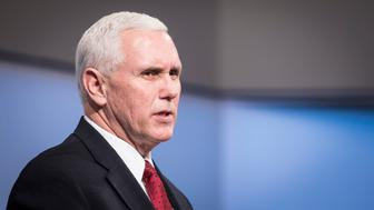 MUNICH, GERMANY - FEBRUARY 18: Mike Pence, Vice President of the United States of America, is pictured during his speech at the Munich Security Conference on February 18, 2017 in Munich, Germany. A lot of Head of States, Ministers and experts in get together to talk and discuss about security issues. (Photo by Florian Gaertner/Photothek via Getty Images)