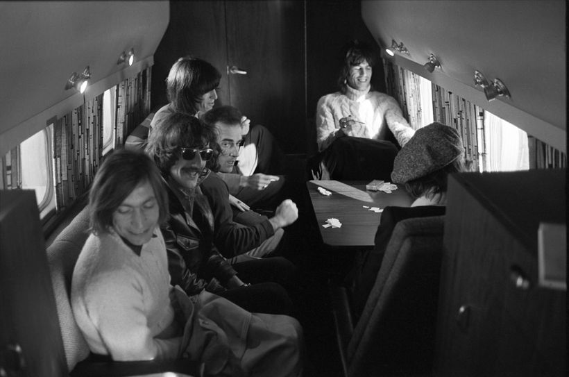 Schneider aboard the tiny Stones touring plane in 1969.
