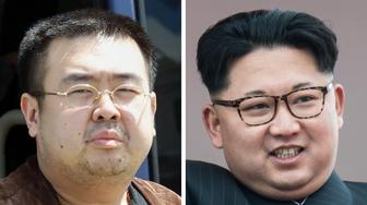 This combo shows a file photo (L) taken on May 4, 2001 of a man believed to be Kim Jong-Nam, son of the late-North Korean leader Kim Jong-Il, getting off a bus to board an All Nippon Airways plane at Narita airport near Tokyo and a file photo (R) of his half-brother, current North Korean leader Kim Jong-Un, on a balcony of the Grand People's Study House following a mass parade in Pyongyang on May 10, 2016. The half-brother of North Korean leader Kim Jong-Un, who has been murdered in Malaysia, pleaded for his life after a failed assassination bid in 2012, lawmakers briefed by South Korea's spy chief said on February 15, 2017. Jong-Nam, the eldest son of the late former leader Kim Jong-Il, was once seen as heir apparent but fell out of favour following an embarrassing botched bid in 2001 to enter Japan on a forged passport and visit Disneyland. / AFP / Toshifumi KITAMURA AND Ed JONES        (Photo credit should read TOSHIFUMI KITAMURA,ED JONES/AFP/Getty Images)