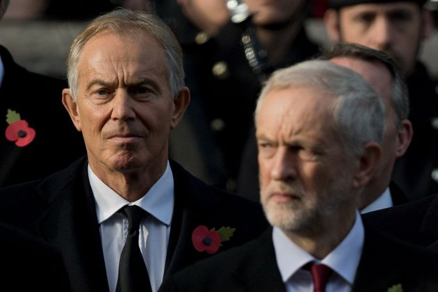 Blair and Corbyn at the Remembrance Sunday ceremony at the Cenotaph on Whitehall, London, on November...