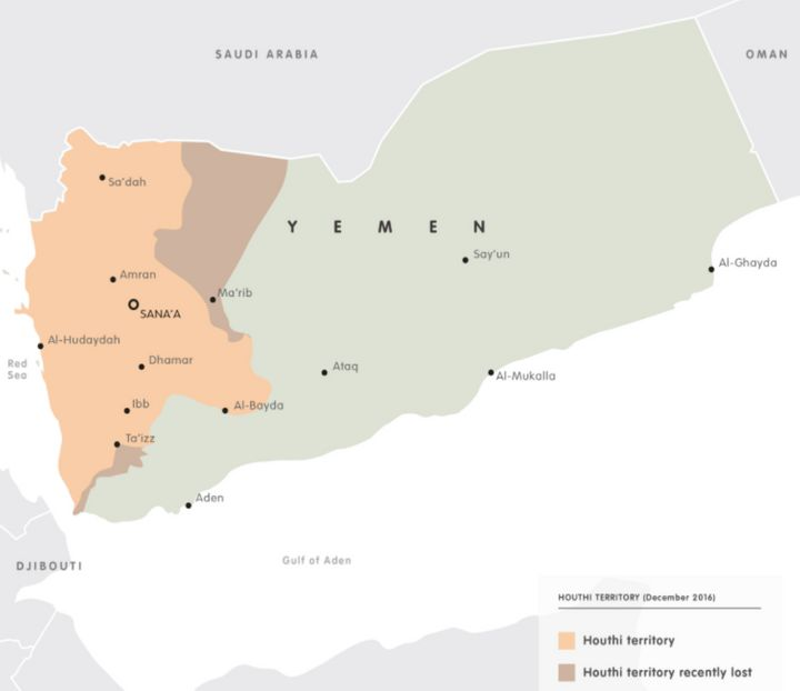 A map of Yemen showing Houthi control as of December 2016.