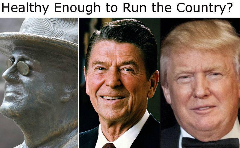 <em>U.S. Presidents Franklin D. Roosevelt, Ronald Reagan and Donald Trump. </em>