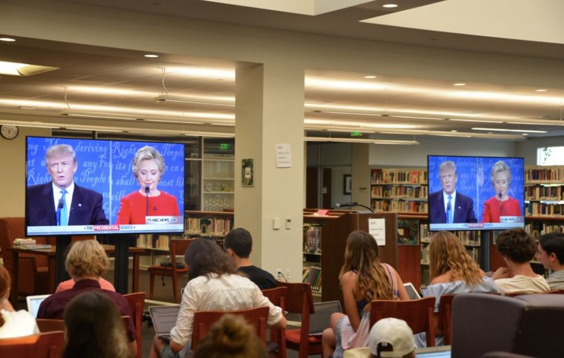 A photo from one of our events during the first presidential debate in which over 300 young people from all over the world co