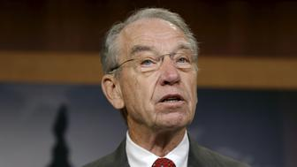 Senator Chuck Grassley (R-IA) delivers remarks at a bi-partisan news conference on criminal justice reform, The Sentencing Reform and Corrections Act of 2015, on Capitol Hill in Washington October 1, 2015.  REUTERS/Gary Cameron