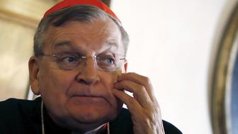 """Cardinal Raymond Leo Burke of the U.S. attends a news conference by the conservative Catholic group """"Voice of the Family"""" in Rome, Italy, October 15, 2015. The group has appealed to a synod of bishops taking place at the Vatican to defend the traditional family, staunchly opposing any changes in church law regarding divorced Catholics and homosexuals. REUTERS/Alessandro Bianchi"""