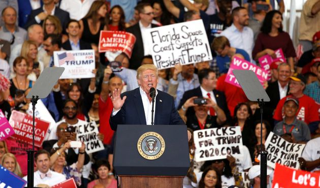 US President Donald Trump speaks during his 'Make America Great Again' rally at Orlando Melbourne International...