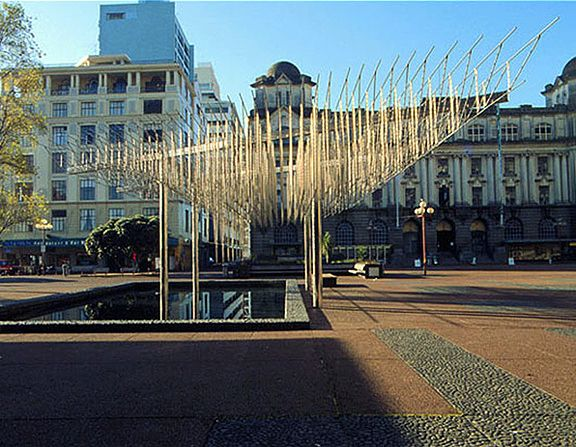 Michio Ihara, <em>Plaza Sculpture</em> (1977), stainless steel 18 x 50 x 72 feet, Queen Elizabeth II Square, Jelicoe Park, Au