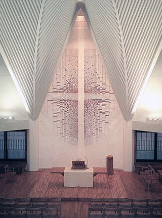 Michio Ihara, <em>Wall Sculpture, Tower</em> (1995), gold plated brass, stainless steel, 20 x 39 x 15 feet, Ikenoue Christ Ch
