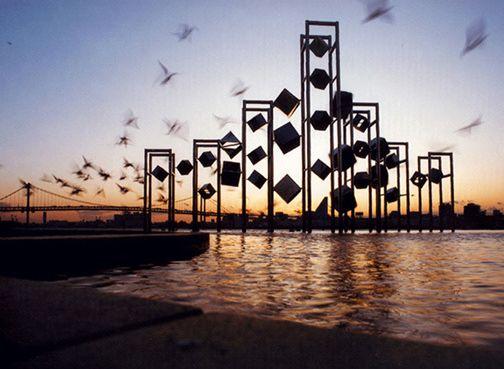 Michio Ihara, <em>Wind Sculpture</em> (1991), stainless steel, 20 x 39 x 15 feet, Harumi Municipal Pier Park, Tokyo, Japan, A