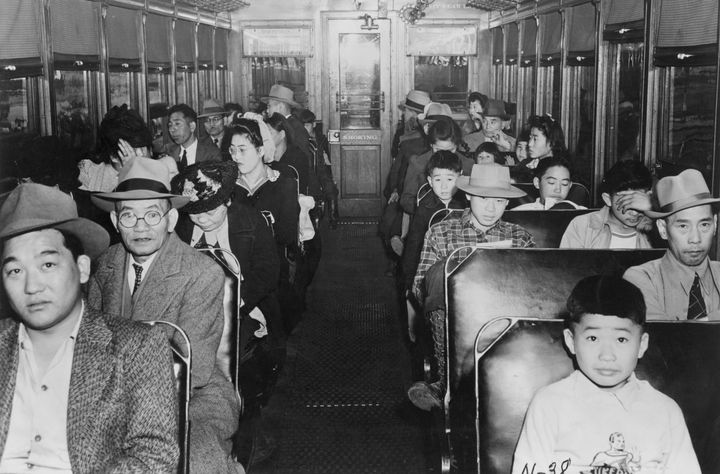 (Original Caption) 1942-Internment of Japanese-Americans during WWII: 'Evacuation' of the Niseis from California: Interior sc