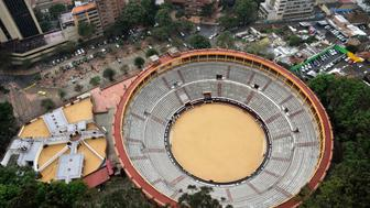 View of the Santamaria bullring in downtown Bogota, Colombia, on January 18, 2017. The historic Santamaria bullring is ready for the January 22, 2017 start of bullfighting season, which divides public opinion in Bogota and is returning by order of the Constitutional Court after an absence of more than four years. / AFP / GUILLERMO LEGARIA        (Photo credit should read GUILLERMO LEGARIA/AFP/Getty Images)