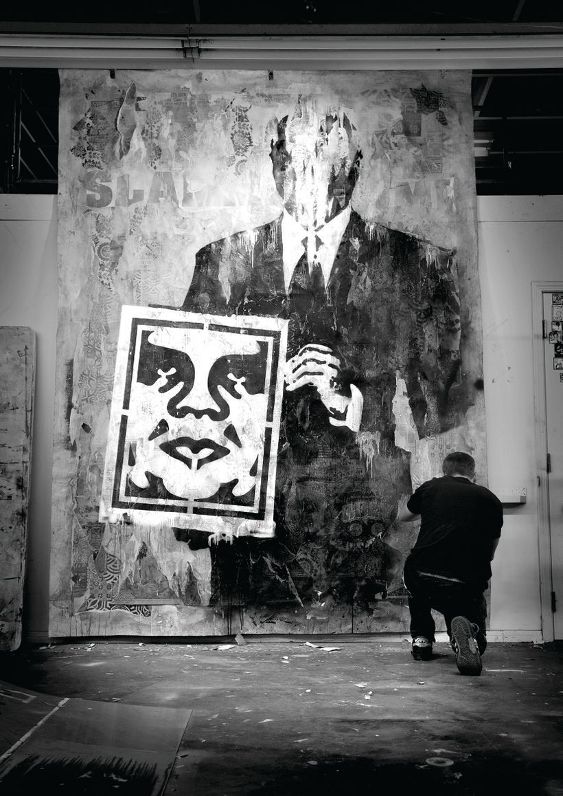 Shepard Fairey at work. <em>Risky Business</em>, 2011, Mixed media painting, mixed media (stencil, silkscreen and collage) on