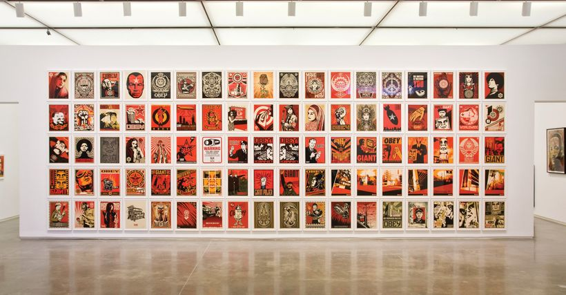 Opening of Shepard Fairey exhibition at Jacob Lewis Gallery. Courtesy Jacob Lewis Gallery, New York. Photo Jon Furlong.