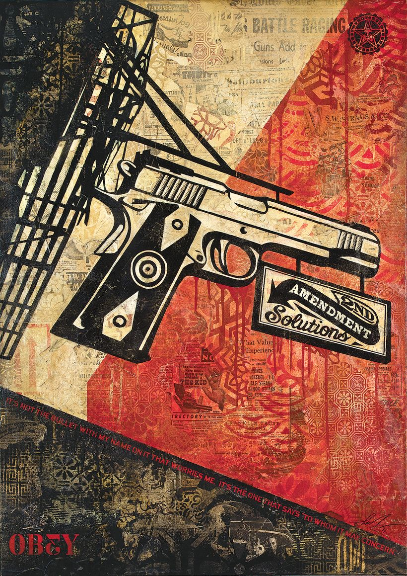 From the book, COVERT TO OVERT: <em>2nd Amendment Solutions</em>, 2011, Mixed media on canvas, 42 x 30 in. Courtesy Obey Gian