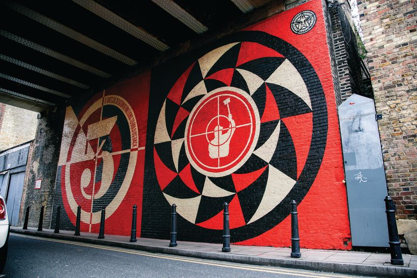 Sedation of Millions Mural, 2012, London, England. Courtesy Obey Giant Art.