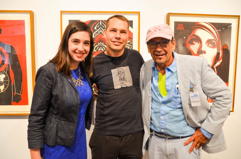 Shepard Fairey pictured at Art Wynwood after his lecture, with Sarah Cascone, Associate Editor<em>, </em>artnet News (left) a