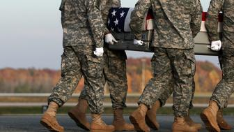 WASHINGTON, DC - NOVEMBER 14:  Members of a U.S. Army carry team move the flag-draped transfer case holding the remains of Army Pfc. Tyler R. Iubelt of Tamaroa, Illinois, during a dignified transfer at Dover Air Force Base November 15, 2016 in Dover, Delaware. Iubelt, 20, who was assigned to Headquarters and Headquarters Company, 1st Special Troops Battalion, 1st Sustainment Brigade, 1st Cavalry Division in Fort Hood, Texas, died November 12 of injuries sustained from a suicide bomb attack at Bagram Airfield near Kabul in Afghanistan.  (Photo by Alex Wong/Getty Images)