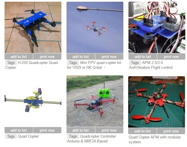 Screen capture showing some of the more than 2000 free and open source 3-D printable quad copter designs.